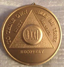Alcoholics Anonymous 31 Year Recovery Coin Chip Medallion Medal Token AA Bronze