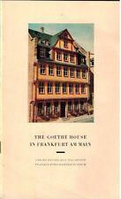1969 Goethe House in Frankfurt Am Main, Germany Frankfurter Goethemuseum Booklet