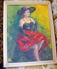Vintage Original MID CENTURY Oil Painting IMPRESSIONISM Woman in Red Skirt