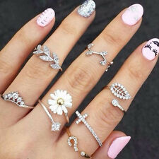 New Fashion 3pcs Ring Set Simple Leaf Midi Knuckle Top of Finger Rings Stylist