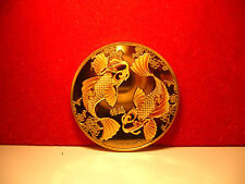 24k gold finished colour two dollars fish coin pisces BUNC new condition in cap
