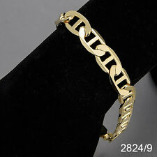 Men's 14K Yellow Gold Plated 9 Inches Chain Cuban Link Bracelet 9 mm   2824/9