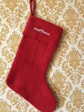 West Elm Felted Wool Christmas Stocking Solid Red. Matthew