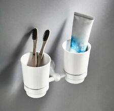 Bathroom Brass Toothbrush Holder Ceramic Cups Storage Wall Mounted Hanger Shelf