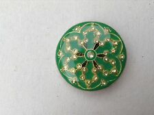 MAXI bottone gioiello STRASS SWAROVSKY  VERDE  vintage BUTTONS BOUTONS COUTURE