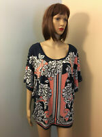 JM COLLECTION XL Navy Coral Floral Border Jersey PONCHO KIMONO Sleeve TOP Studs