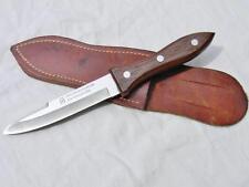 """vintage MAXAM boot knife fighting dagger 9.25"""" ovl, orig leather sheath; JAPAN"""
