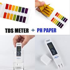 TDS Meter Digital Water Tester+PH Paper Aquarium Drink Wate Purity Measurement