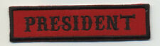 president patch badge car club motorcycle biker MC vest jacket red black
