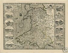Map of Wales by John Speed 1610, Reprint 10x8 inch