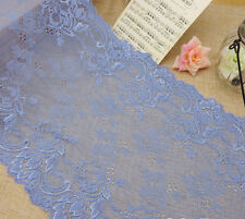 "9"" Wide Lovely Floral Stretch Lace Light Blue y0198"