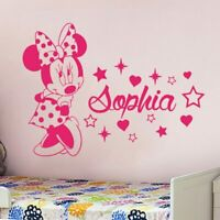 Wall Sticker Custom Baby Name Minnie Mouse Vinyl Decor Kids Nursery Room Decal
