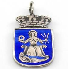 Vtg Sterling Silver David Andersen Blue Enamel Oslo Coat Of Arms Charm Pendant