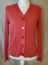 Womens Talbots burnt orange Ribbed Cardigan Sweater medium persimmon button up
