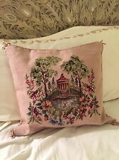 Aubusson Wool Needlepoint Hand Crafted Throw Pillow Cover