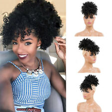 1b# Afro Puff Kinky Curly Hair Bun Ponytail String with Bang Synthetic WrapHair