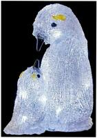 24cm LED Acrylic Mother and Baby Penguin - PREMIER