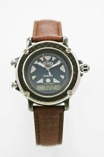 Fossil Watch Mens Chro Alarm Date 24hr Stainless Black 100m Brown Leather Quartz