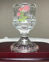 """Vintage Fenton Votive Candle Holder Hand Painted Floral October Signed 4.5"""" MINT"""