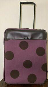 "Hartmann Luxe 24"" Purple Polka Dot Wool Leather Expandable Luggage Wheeled"