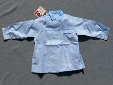 Authentique vintage Blouse - Tablier enfant carreau vichy bleu - Nylfrance 12ans