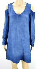 Cloth & Stone Anthropologie Women Shift Dress Cold Shoulder Blue Long Sleeve XS