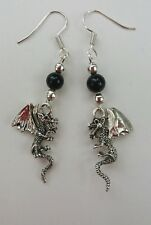 DragonGlass Dragon charm drop earrings.On SP fish hooks.Game of Thrones inspired