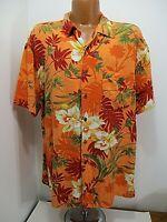 Caribbean Joe Orange Red White Button Up Floral Hawaiian Shirt Tag L