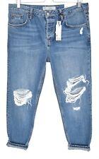 NEW Topshop Boyfriend HAYDEN Loose Blue RIPPED Crop Jeans SIze 12 14 W30 L30