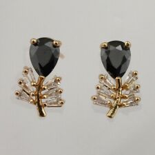 Classy Plant Black & White Gems Jewelry Yellow Gold Filled Stud Earrings h3004