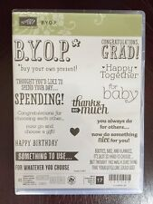 """B.Y.O.P."" Stampin'UP! NEW~CLEAR/CLING MOUNT~ set/17 Birthday, Grad, PARTY, baby"