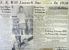 1955 newspaper PRESIDENT EISENHOWER begins SPACE RACE Announces SATELLITE LAUNCH