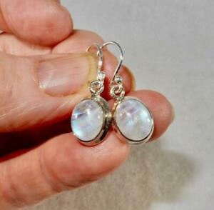 Rainbow Moonstone Small Flashy Oval Dangling Earrings 925 Sterling Silver