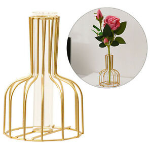 Creative Vase Tube Nordic Style Golden Container Hydroponic Home Room Decoration