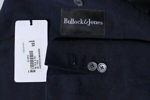 Bullock & Jones Men's Navy Silk Linen Sport Coat Jacket Blazer Surgeon Cuff 44R