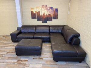 Pop Choc Large Brown Leather Corner Sofa