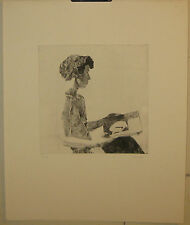 Original PHILIP KAPPEL Nude Woman PORTRAIT *The Book* Etching - Signed Listed