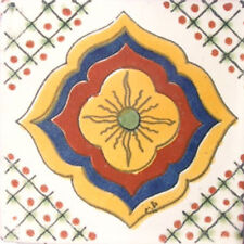 #C015) Mexican Tile sample Ceramic Handmade 4x4 inch, GET MANY AS YOU NEED !!