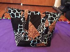 Handmade Quilted Animal Print Purse 1 Outer & 6 Inner Pockets W Removable Insert
