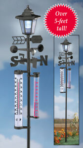 5 Foot Tall Complete Weather Station Lamp Post Garden Stake with Solar Lantern