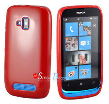 New RED Soft Gel TPU Cover Case For NOKIA Lumia 610 + Screen Protector