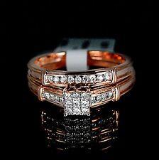 New Ladies Rose 10K Gold Genuine Real Diamond Ring Engagement Wedding Duo Set