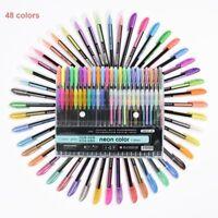 12/24/36/48 rotuladores Pluma gel color Relleno bolígrafo neón metálico