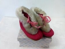 VTG ANTIQUE BABY SHOES BOOTIES MOCCASINS BABY GIRL PINK