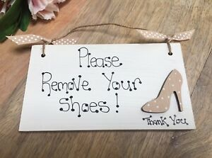 PLEASE REMOVE YOUR SHOES wall door plaques/sign porch hall hanging wood