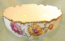 FRENCH T&V LIMOGES Handpainted SERVING BOWL Colorful Flowers crysanthemus 1880