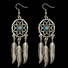 1pair Silver Dreamcatcher Alloy Feather Tassel Mini Turquoise Earrings Ear Studs