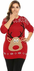 IN'VOLAND Women Plus Size 16 Ugly Christmas Sweater Reindeer Knitted Sweatshirt