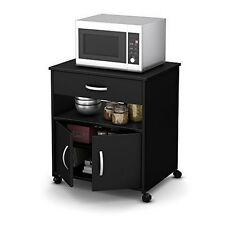 South Shore Fiesta Microwave Cart on Wheels- Pure Black - 10013 NEW