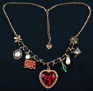 """Betsey Johnson Black and Red Leopard 18"""" Charm Necklace"""